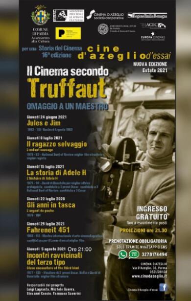"""""""IL CINEMA SECONDO TRUFFAUT"""" all'Arena estiva del cinema D'Azeglio"""