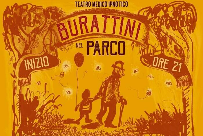 Burattini nel Parco  alle Serre Petitot del Parco Ducale con la  compagnia Teatro Medico Ipnotico.