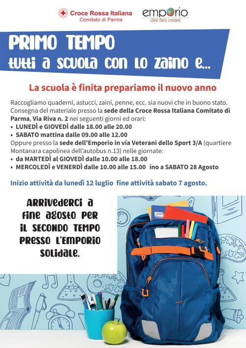 TUTTI A SCUOLA CON LO ZAINO…. 2021  Croce Rossa ed Emporio Parma danno inizio alla raccolta di materiale scolastico per bambini e ragazzi