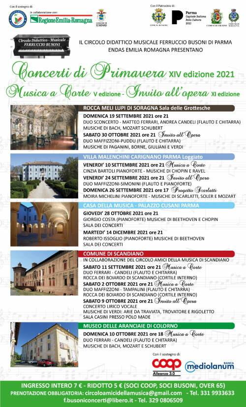 Concerti di primavera 2021 in provincia di Parma