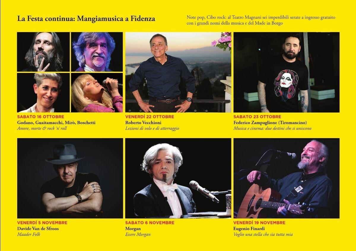 Mangiamusica 2021 al Teatro Magnani di Fidenza  con Roberto Vecchioni, Federico Zampaglione (Tiromancino), Morgan, Cristiano Godano e...