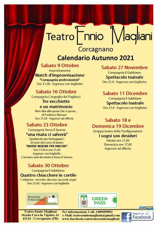 Teatro Ennio Magliani: calendario autunno 2021