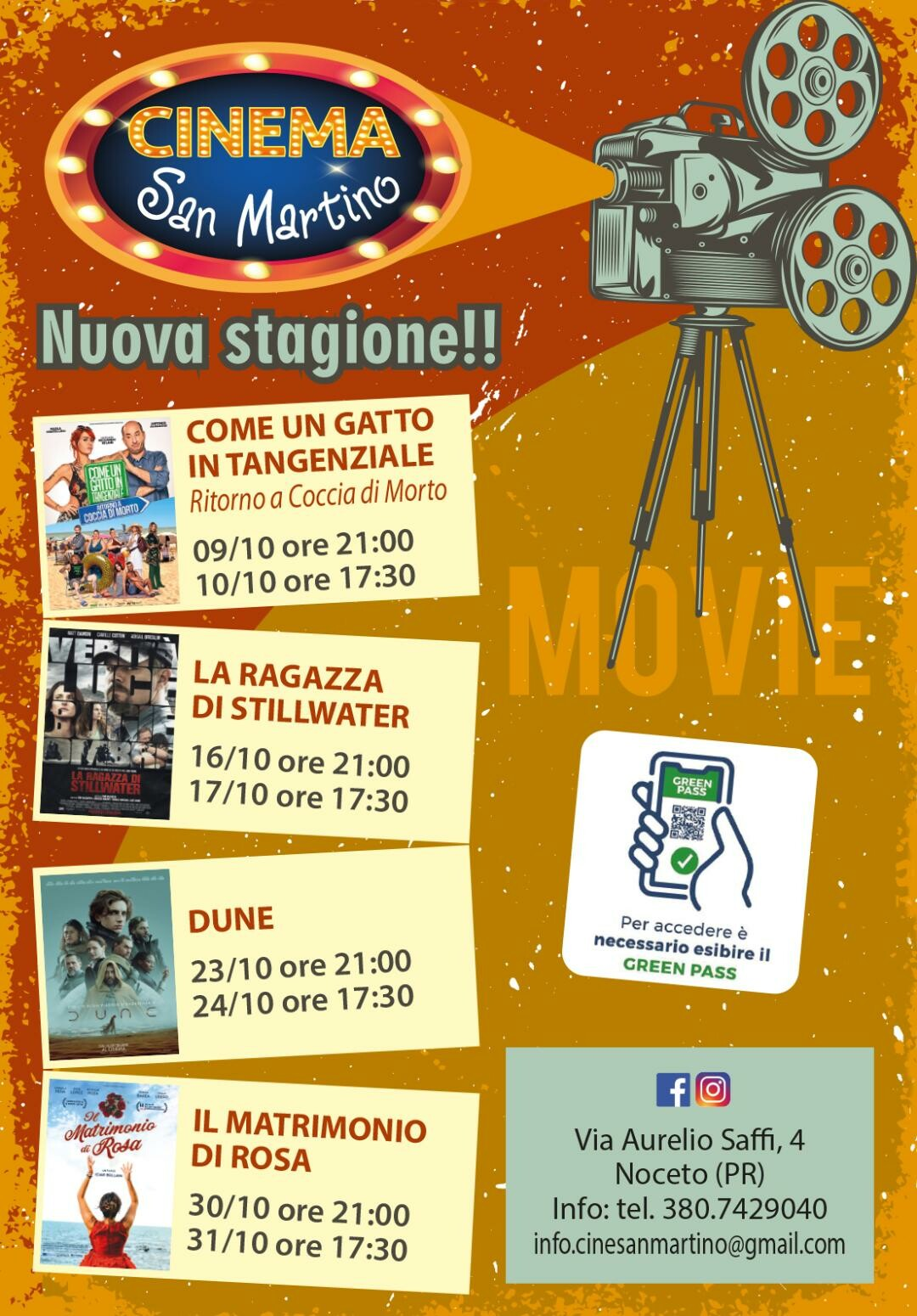 Programma ottobre cinema San Martino a Noceto